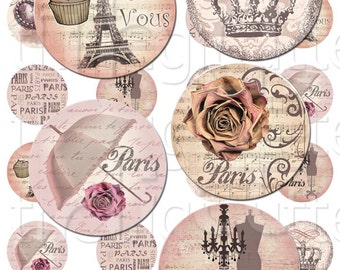 Par Le Vous - 1 inch Circles - Digital Collage Sheet - Instant Download and Print