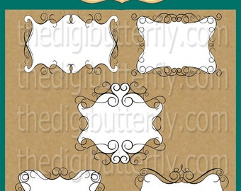 Victorian White - Digital Clip Art Frames - Personal and Commercial Use - Digital Instant Download