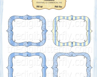 Blue Stitch - Digital Clip Art Frames - Personal and Commercial Use - Digital Instant Download
