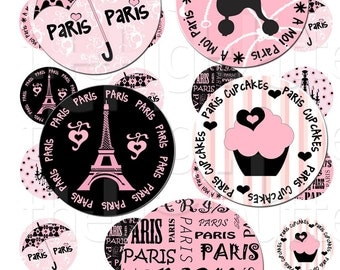 A Moi Paris - 1 inch Circles - Digital Collage Sheet - Instant Download and Print