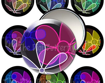 Floral Fizzle - 2.25 inch Pocket Mirror Circles, Pinback Buttons - Digital Collage Sheet, Download and Print