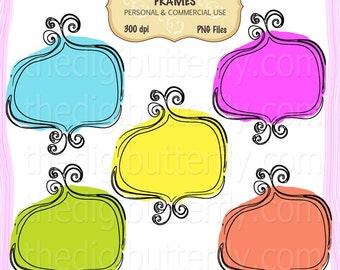 Summer Doodle- Digital Clip Art Frames - Personal and Commercial Use - Digital Instant Download