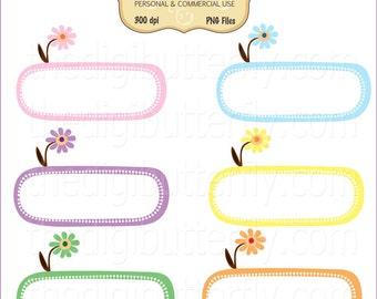 Flower Garden- Digital Clip Art Frames - Personal and Commercial Use - Digital Instant Download