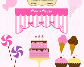 Sweets Shoppe Clip Art Set - Personal and Commercial Use - Digital Instant Download