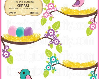 Birdie Nests Clip Art Set - Personal and Commercial Use - Digital Instant Download