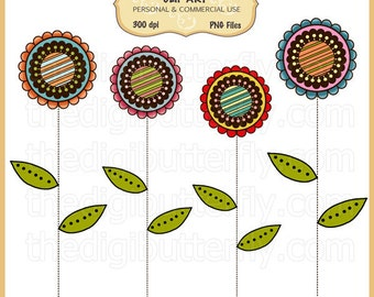Doodle Flowers Clip Art Set - Personal and Commercial Use - Digital Instant Download