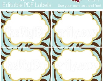 Tiffanie Labels - EDITABLE PDF Labels - Add your own Text and Font -  Instant Download and Print