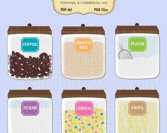Kitchen Jars Clip Art Set - Personal and Commercial Use - Digital Instant Download