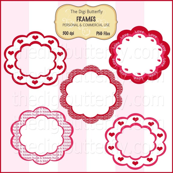 Valentines Day - Digital Clip Art Frames - Personal and Commerical Use - Digital Instant Download