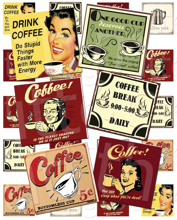 Vintage Coffee - 1 inch Squares - Digital Collage Sheet - Instant Download and Print