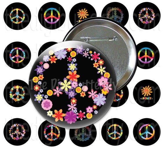 Hippie Peace - 1 inch Button Circles, Trim Areas Specifically for Buttons, Badges - Download and Print