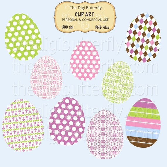 Mod Easter Eggs Clip Art Set - Personal and Commercial Use - Digital Instant Download