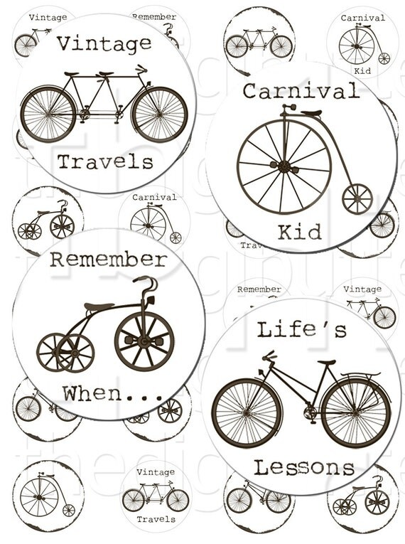 Nostalgic Bikes - 1 inch Circles - Digital Collage Sheet - Instant Download and Print