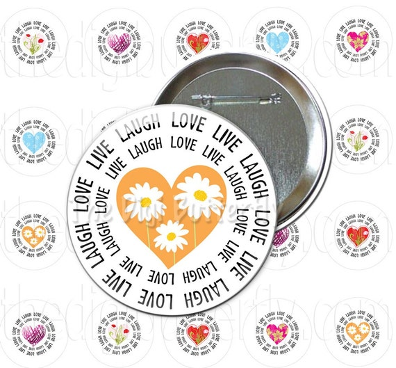 Live Laugh Love - 1 inch Button Circles, Areas Specifically for Pin Back Buttons, Digital Collage Sheet - Download and Print