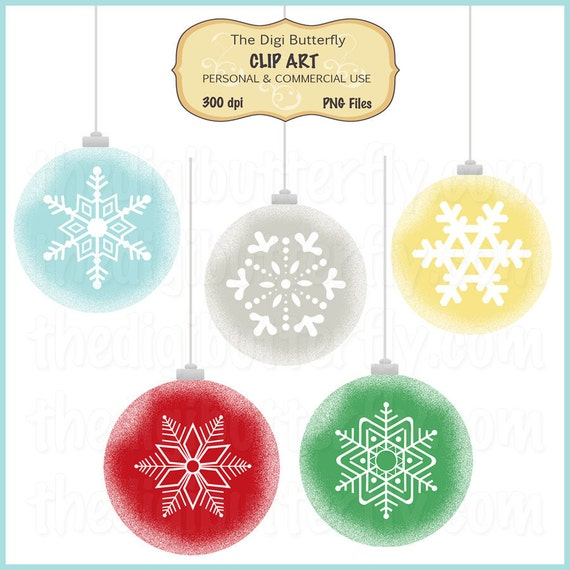 Snowflake Ornaments Clip Art Set - Personal and Commercial Use - Digital Instant Download