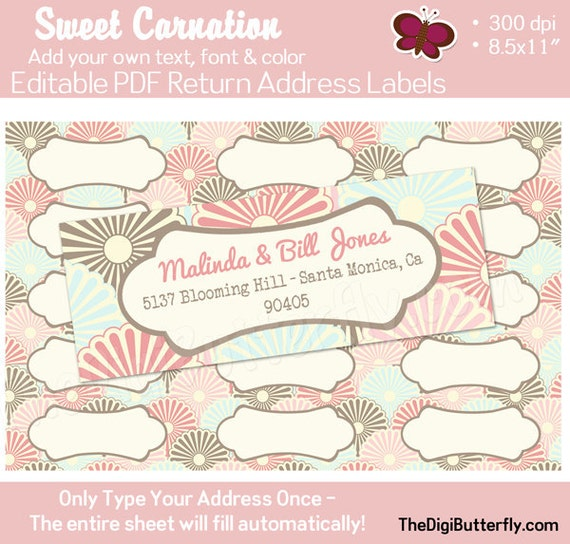 Sweet Carnation - Return Address Labels - EDITABLE PDF - Add your own Text, Color, Font - Instant Download and Print
