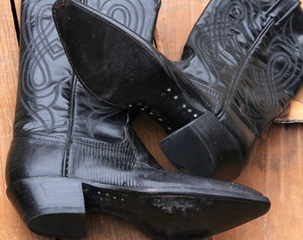 Vintage 80's Black Leather and Lizard Cowboy Boots by Tony Lama, size 5