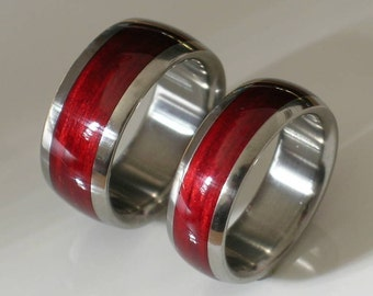 Titanium Wedding Bands His and Hers Bahama Cherry Wood Rings Custom Made Ring
