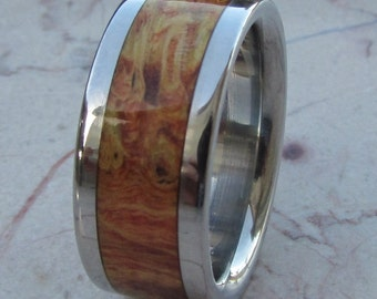 Titanium Ring Box Elder Burl Wood Mens or Ladies Wedding Band in sizes 4-17 HandCrafted