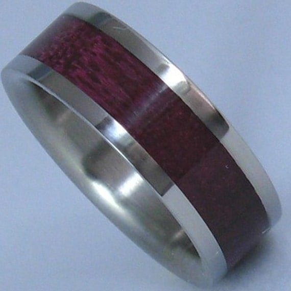 Titanium Wood Ring Purple Heart Wooden Inlay Band By