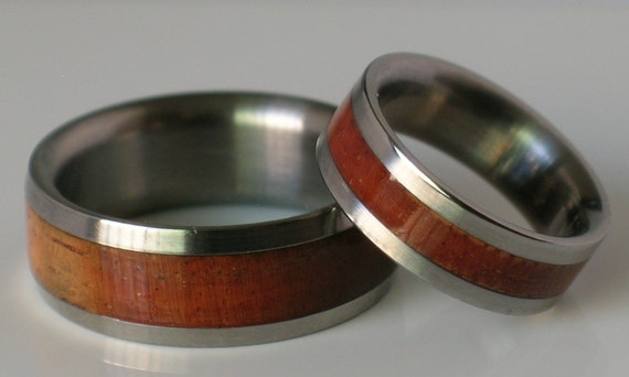 Titianium koa wood wedding bands his and hers by usajewelry for Hawaiian wedding ring sets
