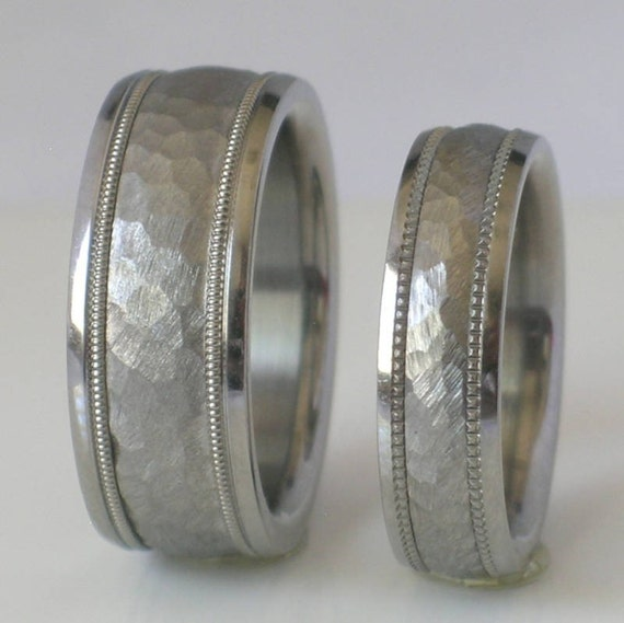 custom made tungsten and titanium wedding band set by