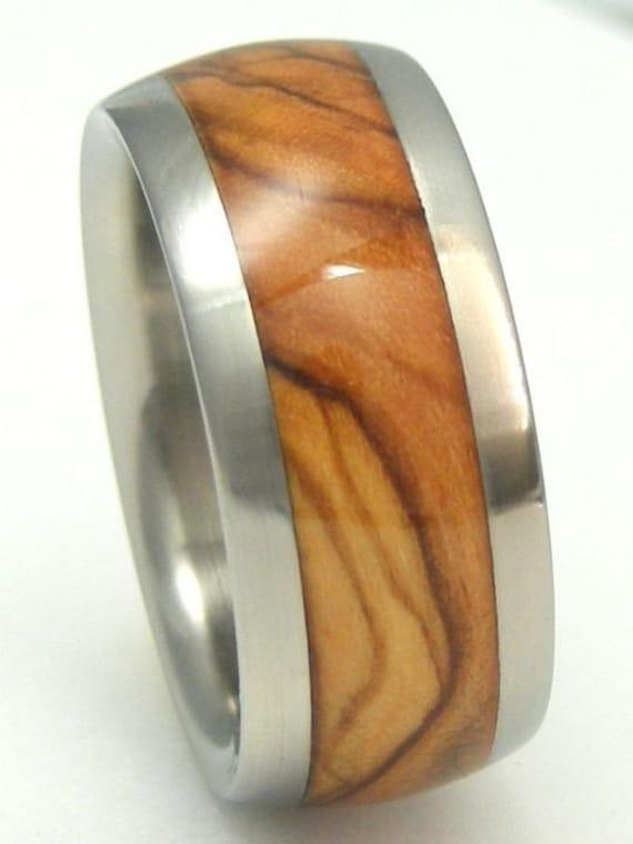 mens bethlehem holy land olive wood titanium ring by. Black Bedroom Furniture Sets. Home Design Ideas