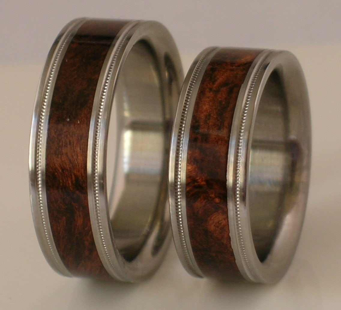 2 custom made titanium wedding bands inlaid brown by