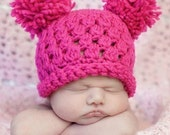 READY to SHIP -- Size Newborn -- Precious in Pink Crocheted Pom Pom Hat --  Also available in sizes Baby to Adult
