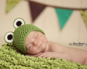 Ready to Ship - Size Newborn  - Freddy the Frog Crocheted Hat -- Also available in Baby to Adult Sizes