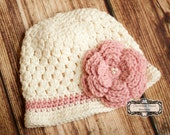 READY to SHIP -- Size 5T-Preteen --Beautiful Bucket Hat in Cream and Pink-- Also available in Newborn to Adult Sizes