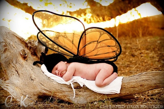 ONLY ONE LEFT -- Butterfly Baby Crocheted Hat with Antennae and Draped Back with Monarch Wings (Newborn Photography Prop)