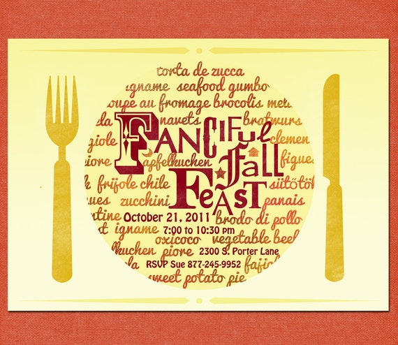 PartyEinladung zum Essen Herbst fest mit von cardvarkdesigns