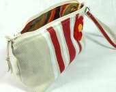 Cotton Cosmetic bag - Cream & Red