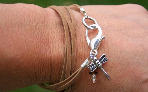 Boho Suede Wrap Dragonfly Charm Bracelet