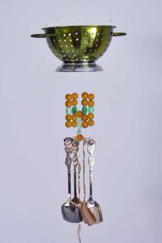 Wind Chime -  Mini Colander With Gold Tone Spoons  (Free Shipping)