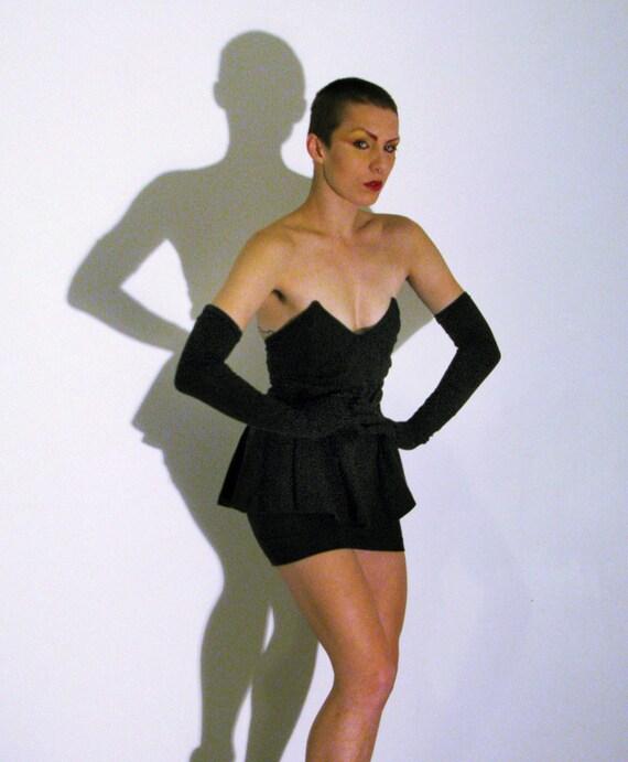 Vintage Betty Johnson's Black Mini Ruffle Dress With Gloves