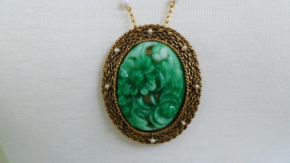 60s Italian Floral Green Glass Brooch Necklace
