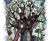 Cozy House Tree Print