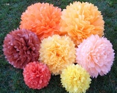 Set of 40 Tissue Paper Pom Poms - Your Colors - Weddings, Birthday Party, Baby Shower, Centerpieces