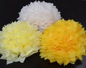 15 Baby Shower Decorations Hanging Tissue Paper Pompoms, Pom Pom, Wedding Decoration - Your Color Choice