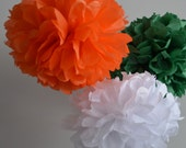 St. Patrick's Day Party Decorations Tissue Paper Pom Poms  - Set of 3 - Your Colors