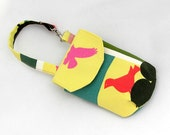 Cell phone or camera pouch with strap, mod birds