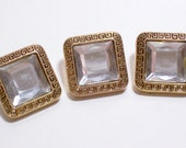 3 New Gold and Clear Rhinestone Square Buttons 3/4 inch square