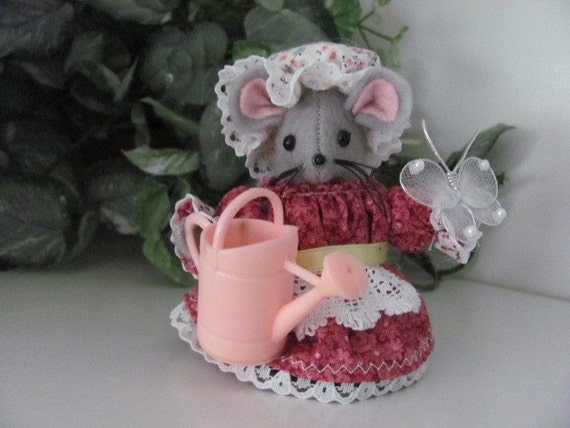 A Mouseville Gardening Mouse Ornament  Maria