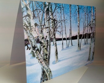 Card, Birch Trees