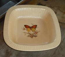 ... Baking Dish Microwave Orange Yellow Flowers Floral Fluted Edge Home