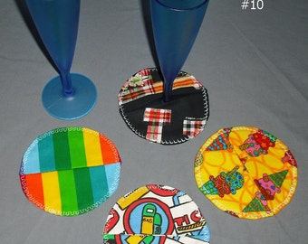 Wine Glass Fabric Coaster Cover Marker Set Party Wedding Dinner Goblet Entertain Bright Colors Prints Abstract Pastels Home Kitchen Dining