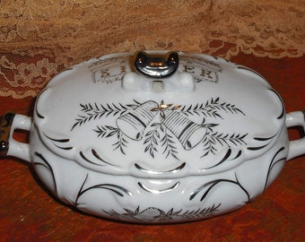 Clearance Vintage Norcrest Fine China Silver Anniversary Covered Bowl Box with Lid Handles Oval Bells B164 Platinum Trim Home Dining