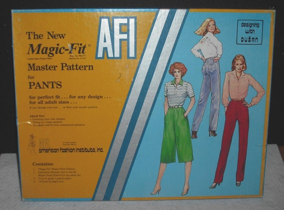 Vintage AFI Magic Fit Master Pattern for Pants American Fashion Institute in Box Uncut Never Used Retro Woman Design Clothing